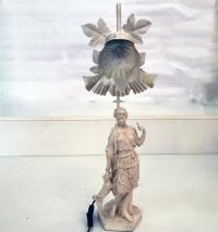 Настолна лампа с бяла пластика и син абажур
