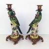 Чифт свещници - Папагали /Зелено/