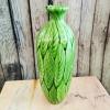 """Ваза """"Зелени листа"""" от арт стъкло"""